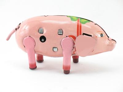Glücksschwein Bibber mit Vibration Uhrwerk   5337067 Blechspielzeug