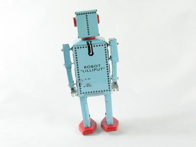 silber//rot  1440372 Blechspielzeug Roboter auf Raupenfüßen