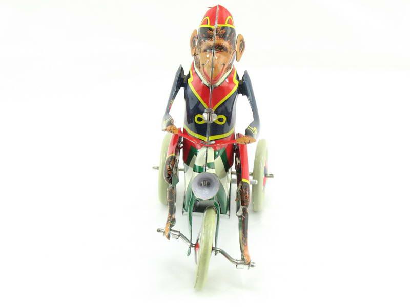 Affe auf Fahrrad Blechspielzeug Paya Nachbau mit Uhrwerks-Antrieb
