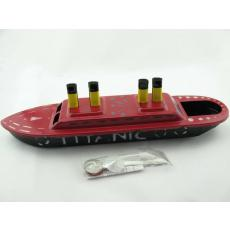 Blechspielzeug - Kerzenboot, Pop Pop Boat, Dampfboot TITANIC rot-schwarz