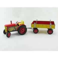 Traktor Zetor mit Anhänger, rot, METALLFELGEN, Neuheit 2019 von KOVAP – Blechspielzeug