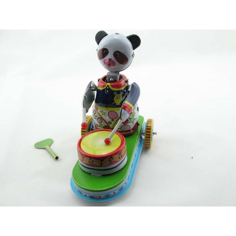 Blechspielzeug - Pandabär mit Trommel auf Wagen