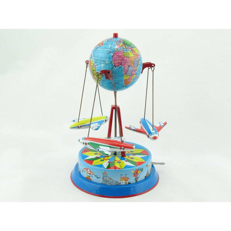 Blechspielzeug - Karussell Globus mit 3 Fliegern an Ketten BRD